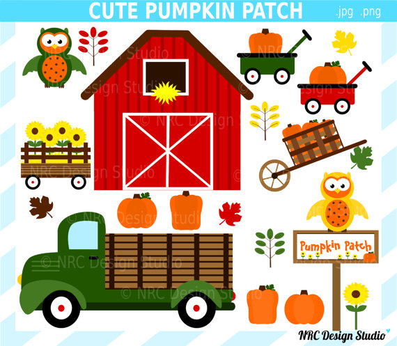 Clipart   Autumn Sunflower Truck Wagons Barn Owls Commercial Use