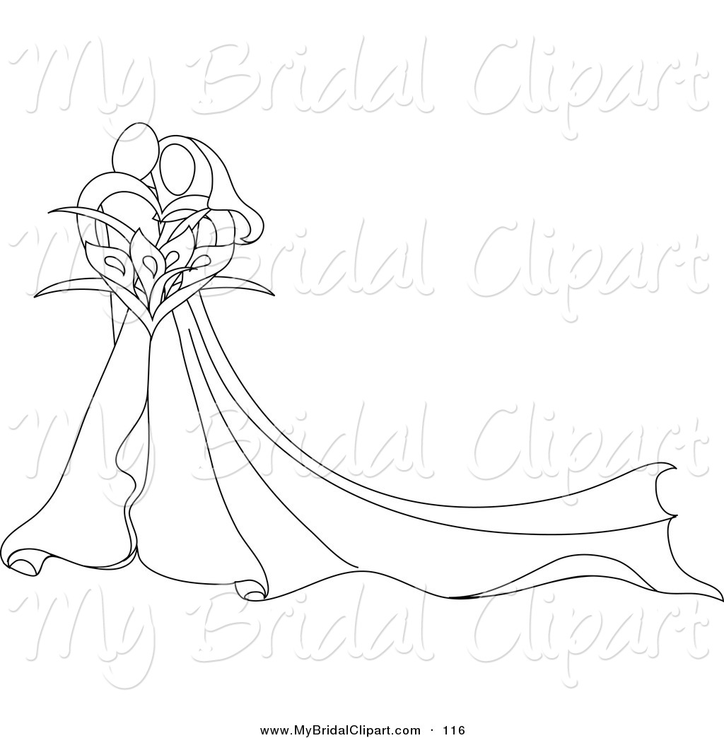 Larger Preview  Bridal Clipart Of A Pretty Abstract Outlined Embracing