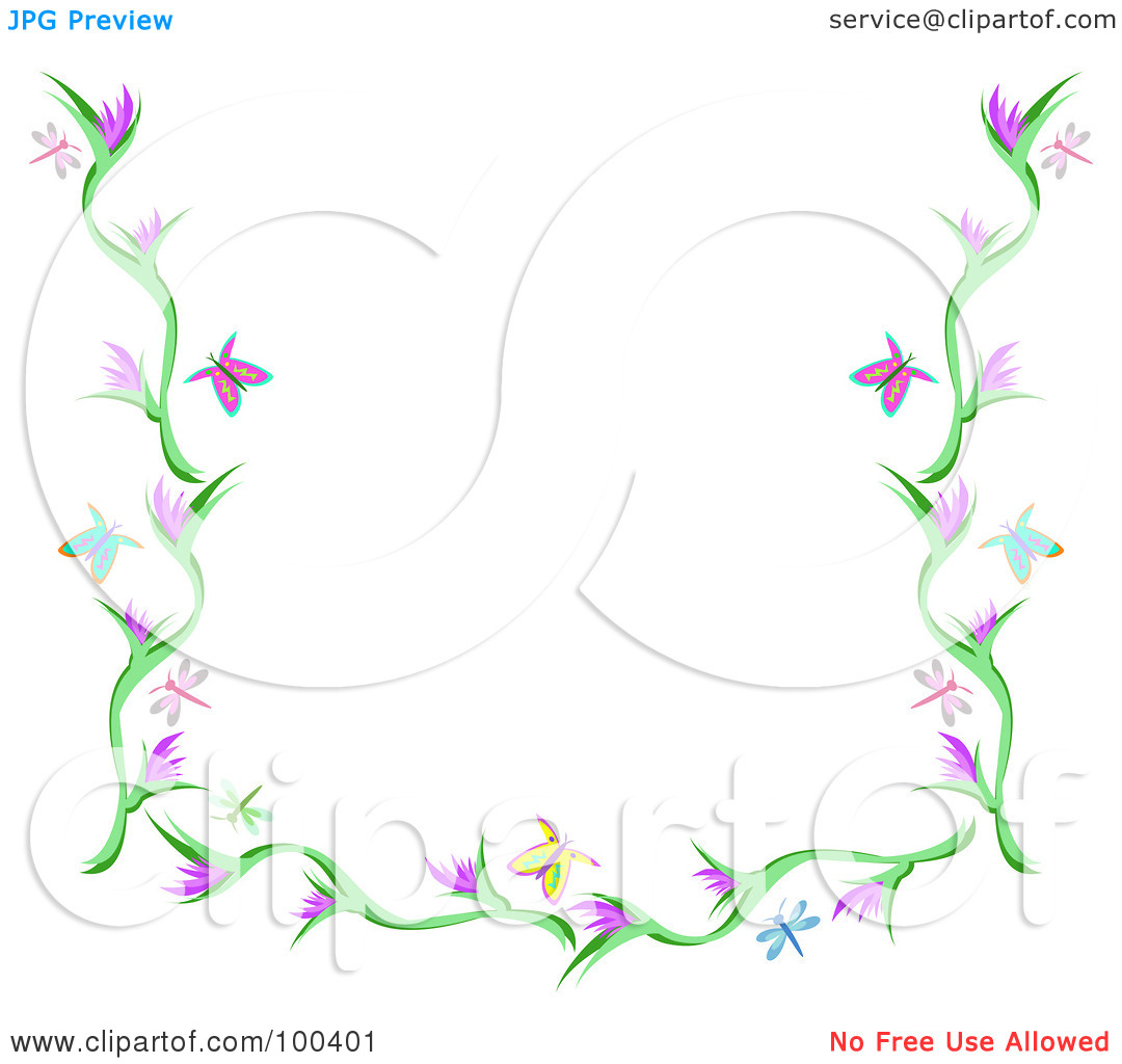 Flower and butterfly border clip art - photo#17