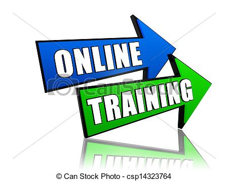 Stock Image Of Online Training In Arrows   Online Training   Text In