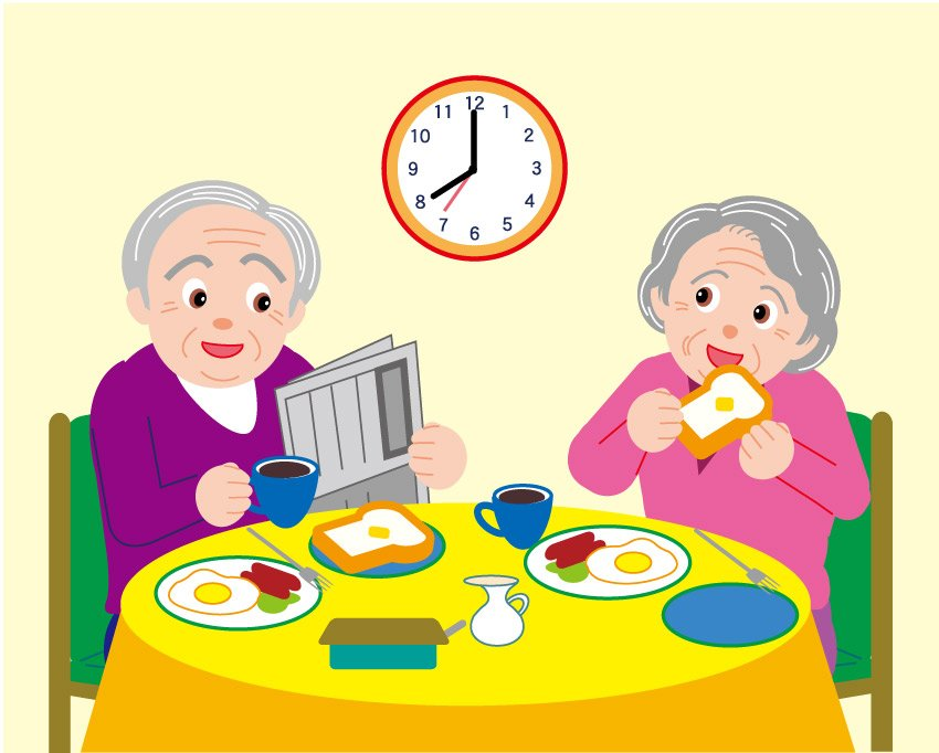 Vector Old Couple Eating Breakfast