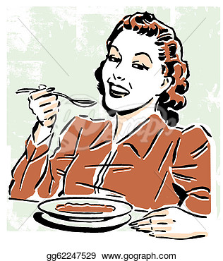 Vintage Style Portrait Of A Woman Eating  Clipart Gg62247529   Gograph