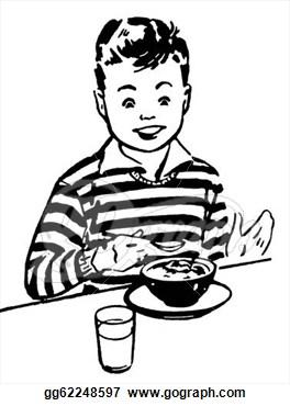 White Version Of A Young Boy Enjoying His Dinner  Clip Art Gg62248597