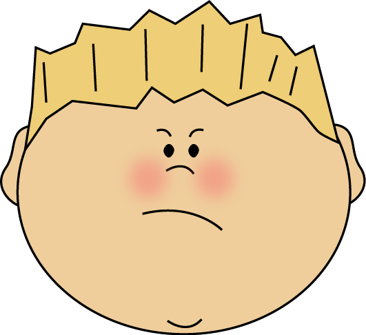 Angry Face Boy Clip Art Image   The Face Of An Angry Boy With Blond