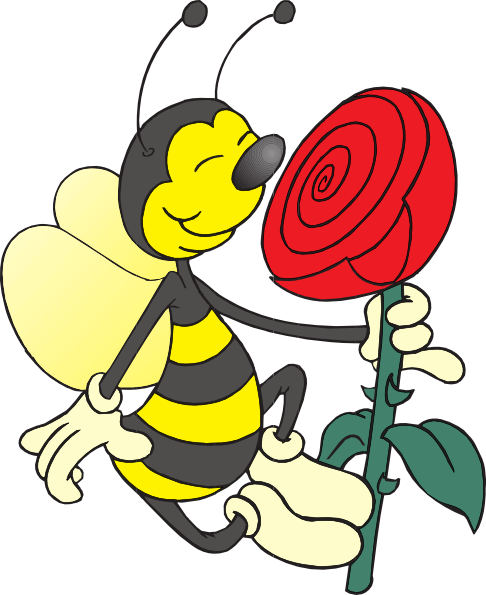 Bee Smelling Flower Clip Art