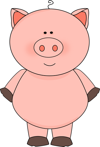 Cute Pig Clip Art Image   Cute And Chubby Pink Pig With A Strand Of