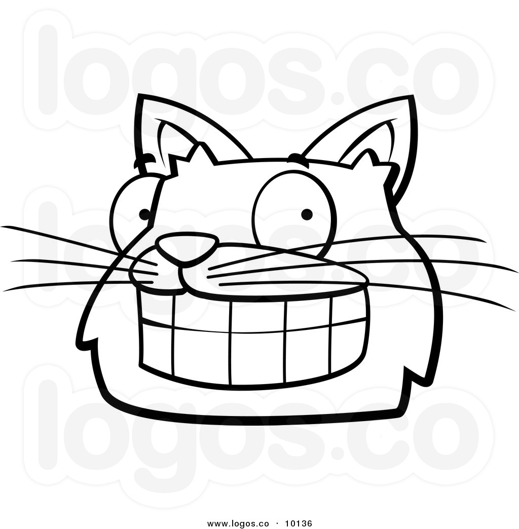 Grin Clipart Royalty Free Vector Of A Black And White Grinning Cat