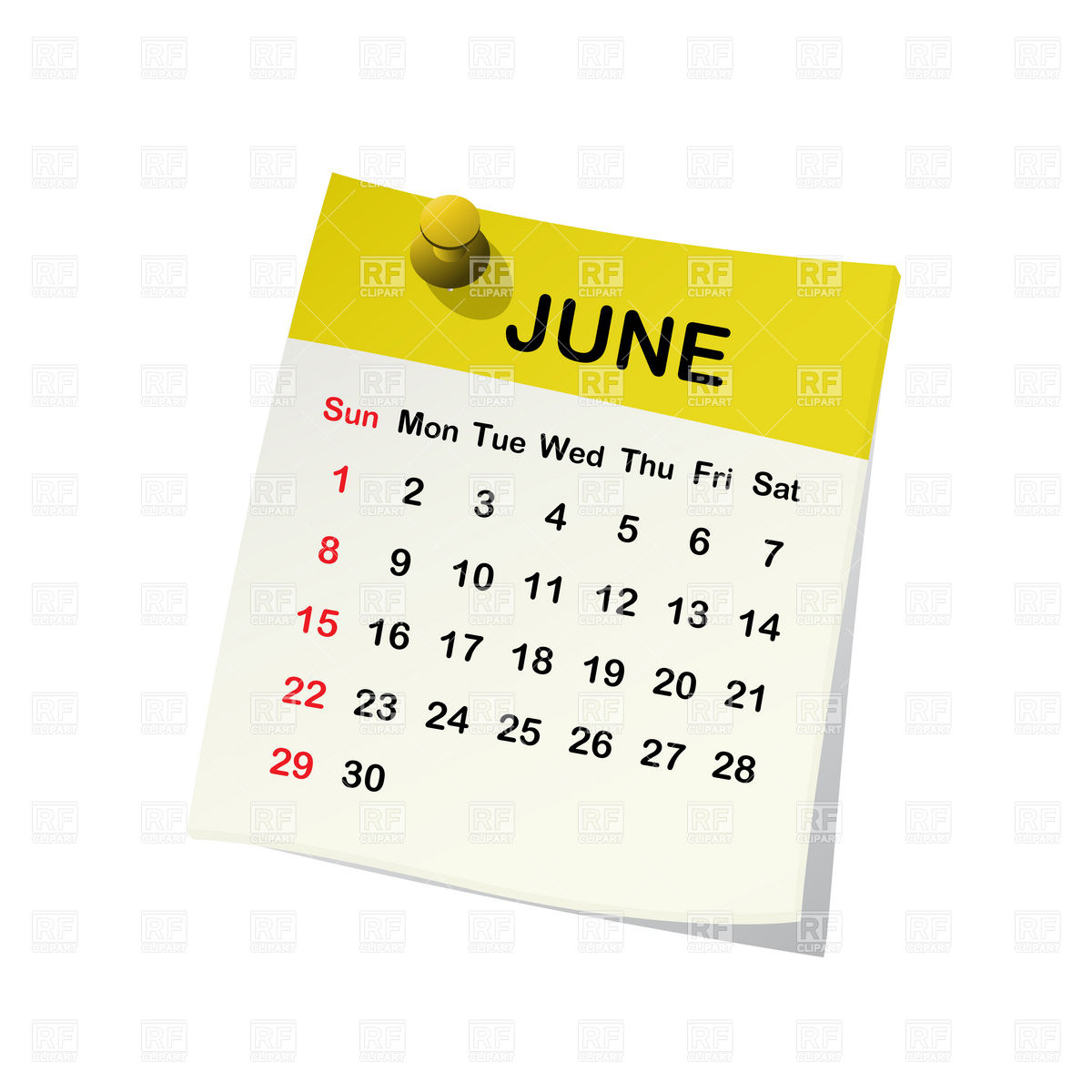June 2014 Month Calendar Download Royalty Free Vector Clipart  Eps