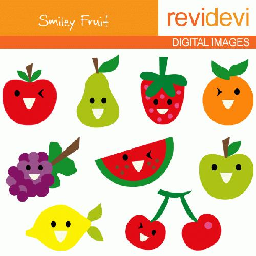 My Grafico Smiley Fruit Clipart Digitize This Fun Fruit Clipart