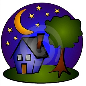 Nighttime Blue House Clip Art Royalty Free Stock Photography   Image