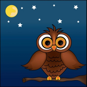 Owl Clipart Image   Owl In A Tree At Night