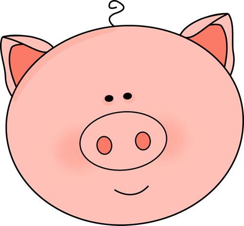Pig Face Clip Art Image   Large Pink Pig Face With Pointy Ears And A