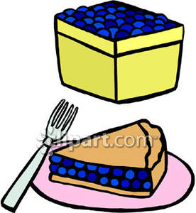 Basket Of Blueberries And Blueberry Pie   Royalty Free Clipart Picture