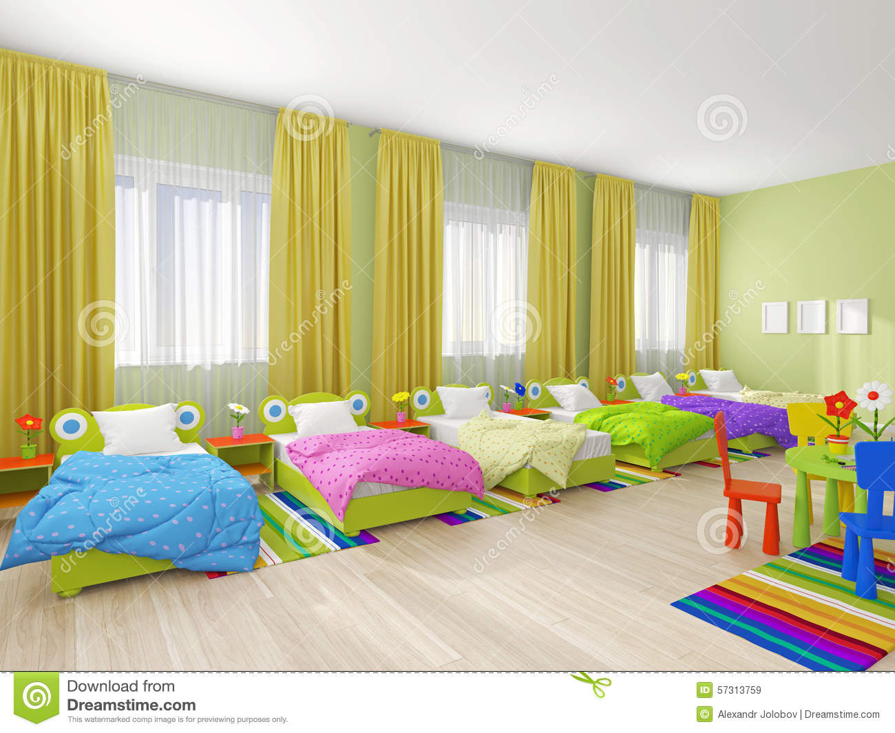Bedroom Interior In Kindergarten  On The Floor Are The Bed  Cots Are