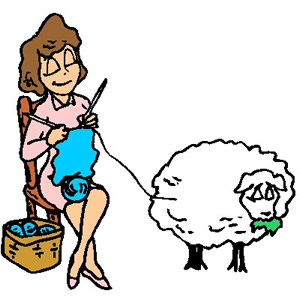 Clip Art Of A Woman Knitting With Wool Directly From A Sheep