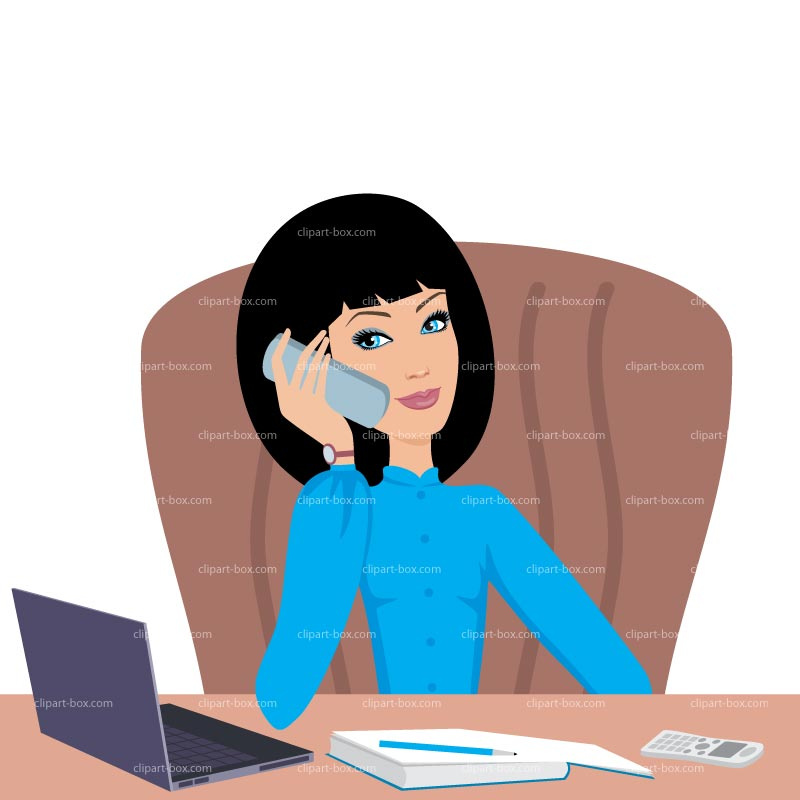 Clipart Girl On The Phone   Royalty Free Vector Design