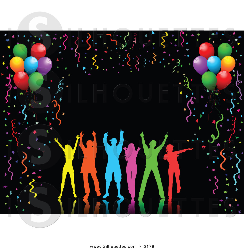 Clipart Of A Silhouetted Group Of Colorful People Dancing Over A Black