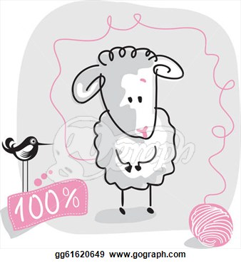 Cute Doodled Sheep With Wool Quality Label  Vector Clipart Gg61620649