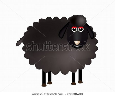 Delightful Black Sheep Cartoon  Stock Vector 89538400   Shutterstock