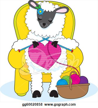 Drawing Sheep Knitting Heart Gg60020858 Clipart