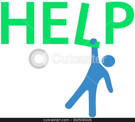 Hang Man Need Help Information Stock Vector Clipart Person Hanging On