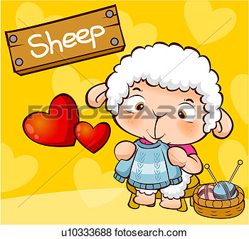Heart Shaped Heart Animal Knitting Sheep View Large Illustration