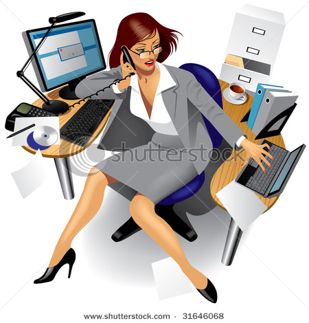 Image Of A Busy Business Women In Office   Vector Clipart Illustration