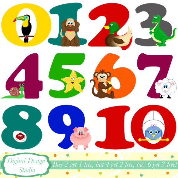 Items Similar To Animal Numbers Digital Clip Art Instant Download