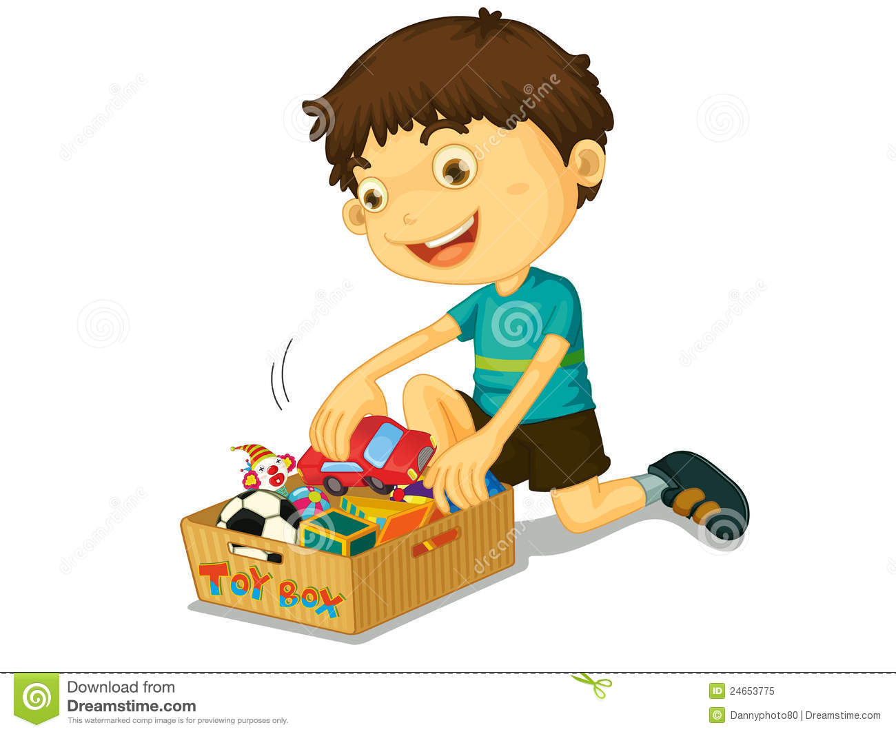 Kids Cleaning Toys Clipart Boy With His Toys