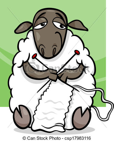 Knitting Sheep Cartoon Illustration   Csp17983116
