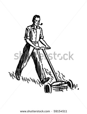 Man Mowing Lawn   Retro Clip Art   Stock Vector