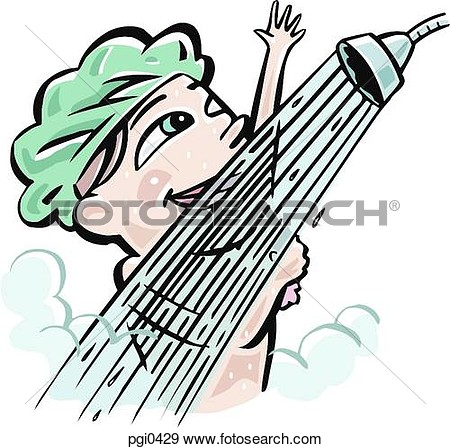 Of A Woman Taking A Shower Pgi0429   Search Vector Clipart