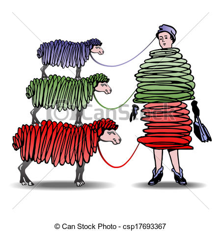 Of Three Sheep Knitting Woman A Dress Csp17693367   Search Clipart