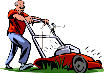 Old Guy Mowing His Grass   Royalty Free Clip Art Image