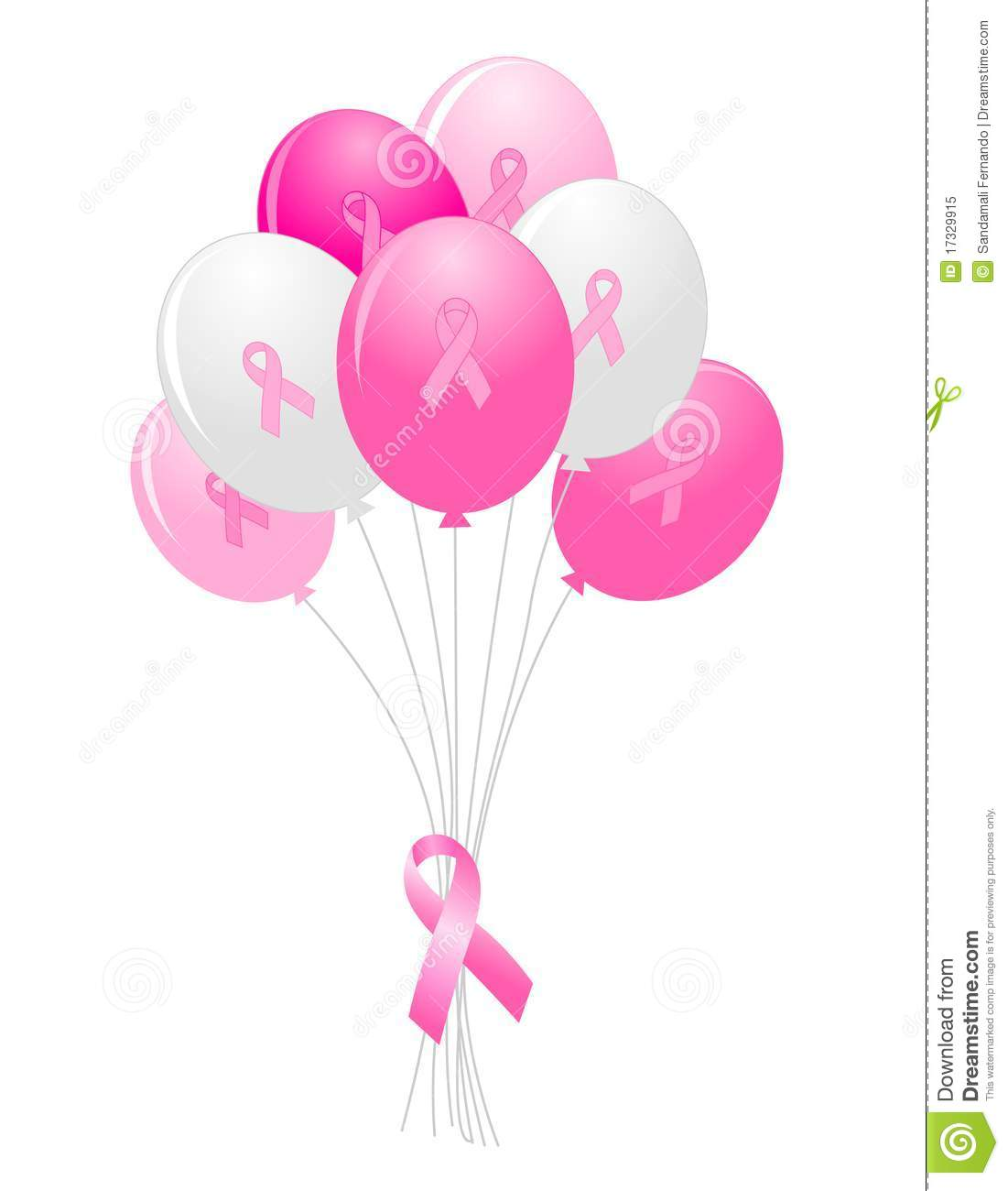 Pink Colored Balloons With Breast Cancer Awareness Ribbon Bow Clipart