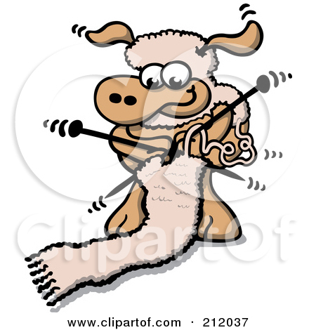 Royalty Free  Rf  Clipart Illustration Of A Sheep Knitting A Wool