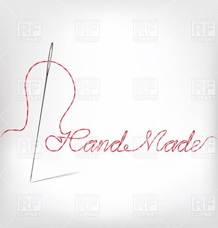 Sewing Needle With Thread   Embroidered Phrase Handmade 38848