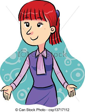 Vector Clip Art Of Office Lady   A Working Office Lady With Purple