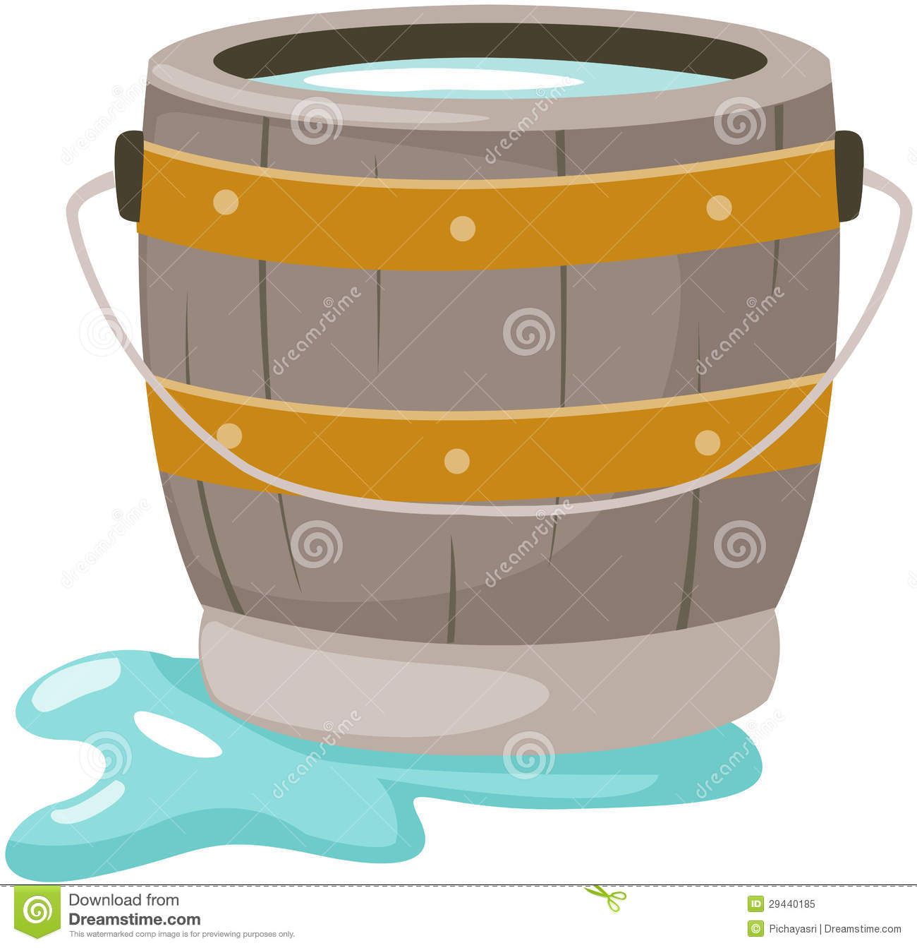 Wooden water bucket clipart bucket of water