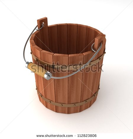 Wooden Water Bucket Clipart Empty Wooden Bucket On White