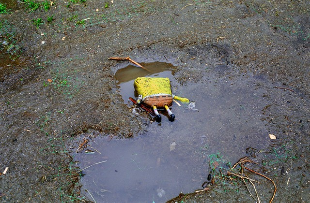 Check Out This Sad Picture Of Poor Sponge Bob Face Down In The Mud