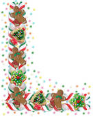 Christmas Border Cookies And Candy   Clipart Graphic