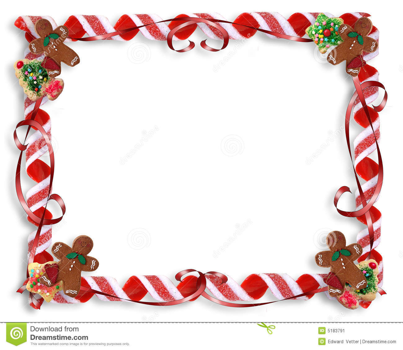Christmas Cookies And Candy Frame Stock Image   Image  5183791