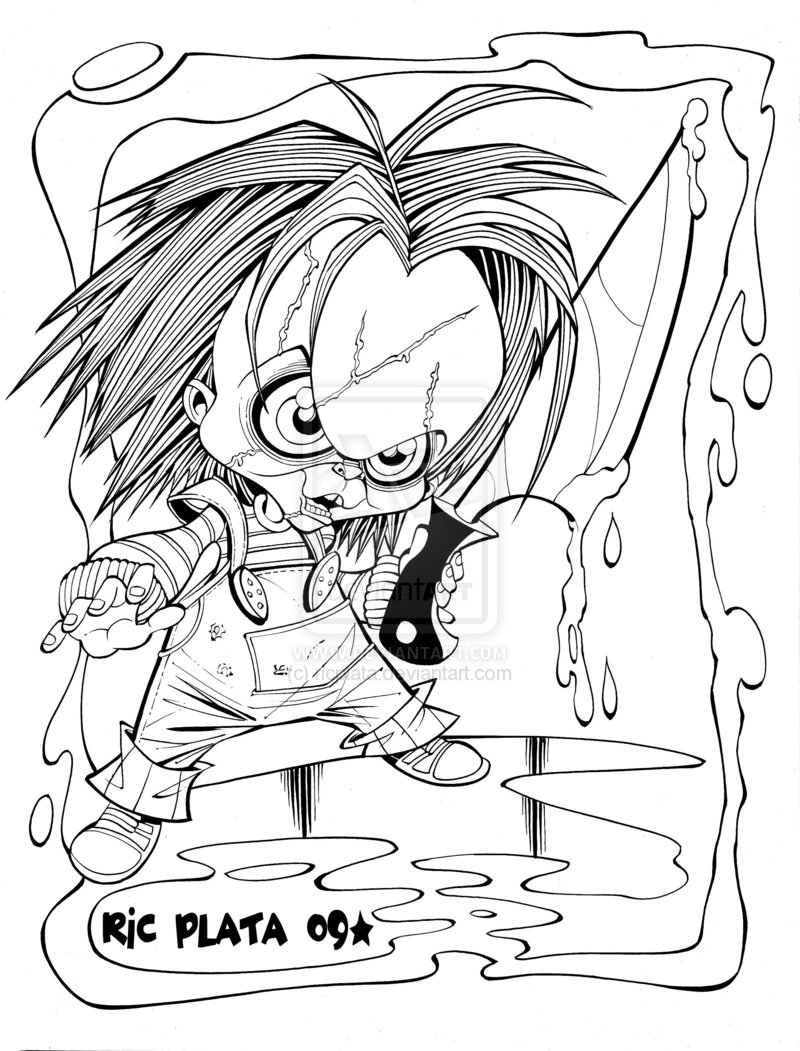 Chucky Doll Coloring Pages   Kids Coloring Pages   Printable Free
