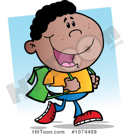 Clipart African American School Boy Walking To School   Royalty Free