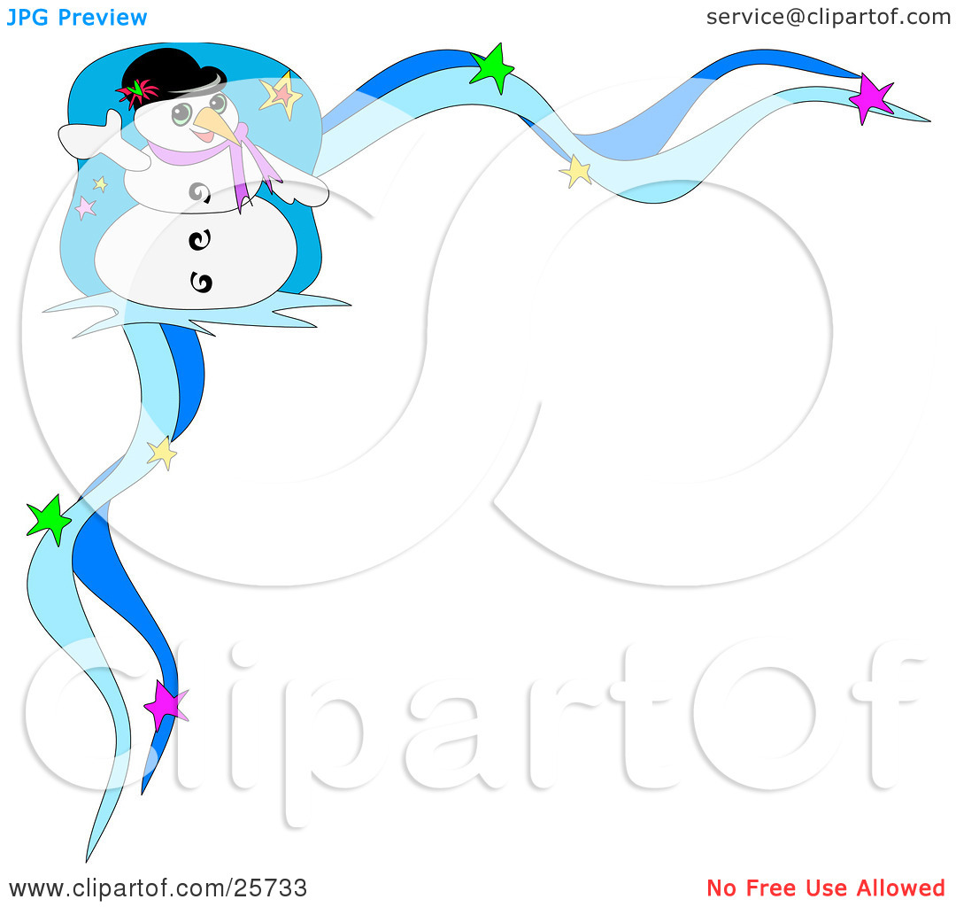 Clipart Illustration Of Frosty The Snowman Wearing A Hat And Purple