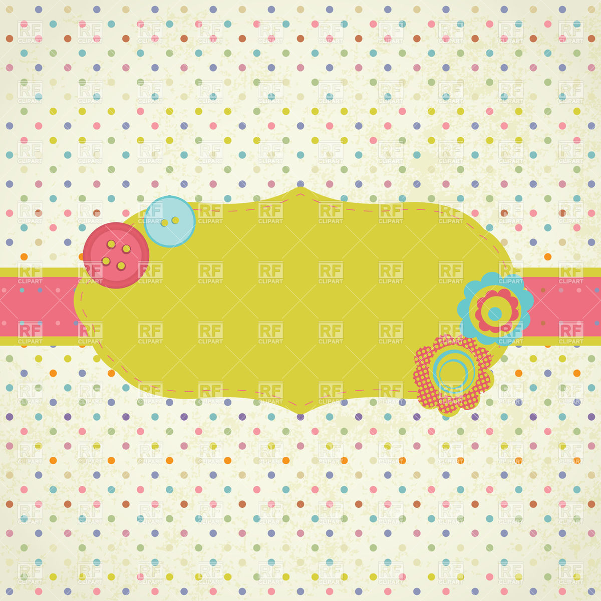 Frame On Polka Dot Background Download Royalty Free Vector Clipart