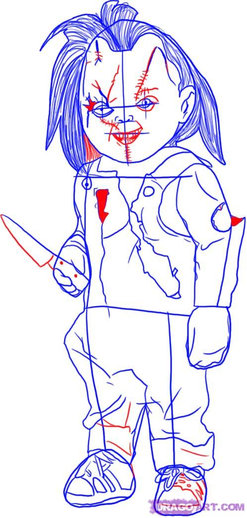 How To Draw Chucky From Childs Play Step By Step Halloween Seasonal