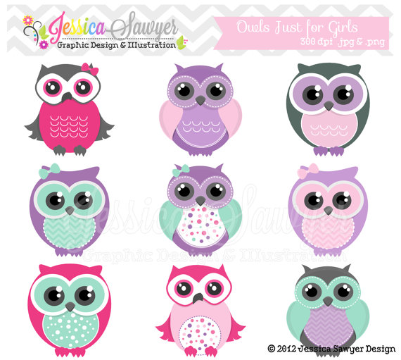 Instant Download Cute Owl Clipart Girly Pink Clip Art Bird Graphic