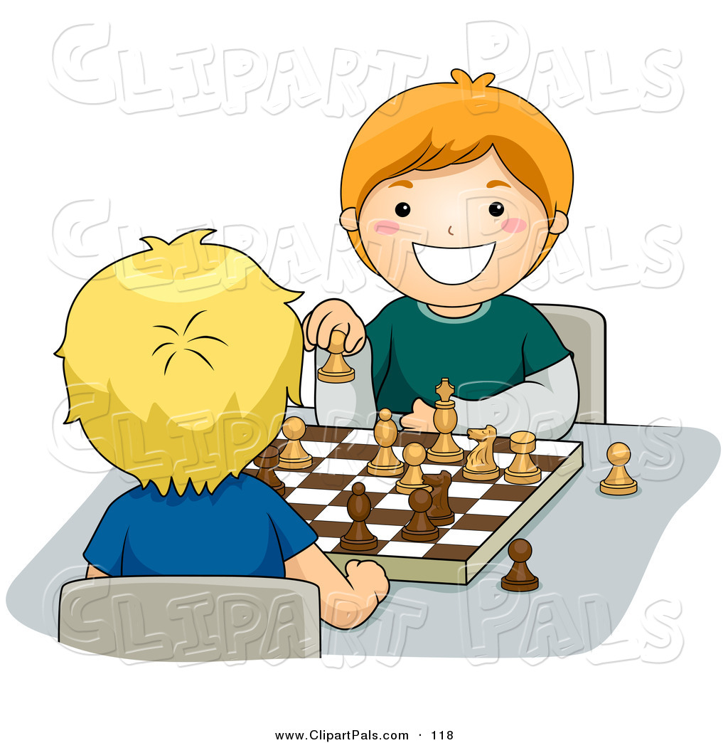 Preview  Pal Clipart Of A Pair Of Happy Boys Playing A Game Of Chess